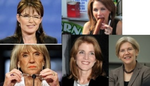 Top: Palin, Bachmann; Bottom: Brewer, Kennedy, Warren
