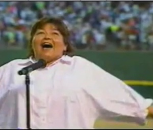 Roseanne Barr at the 1990 San Diego Padres game.