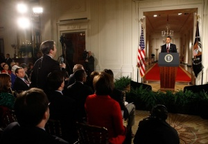 President Obama at a White House press briefing (file photo)