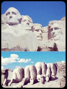 Mount Rushmore front side, top; Mount Rushmore rear, bottom.