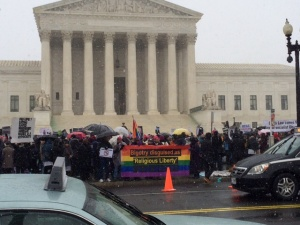 Today's protest at the U.S. Supreme Court attended by Michele Bachmann (photo: The Adobo Chronicles)