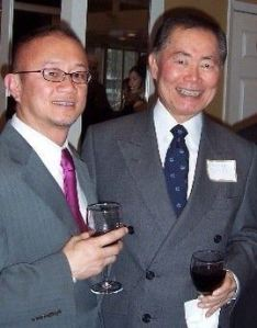 George Take, right, with The Adobo Chronicles publisher at a reception announcing the legendary actor's new position.