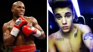 Mayweather, left, and Bieber