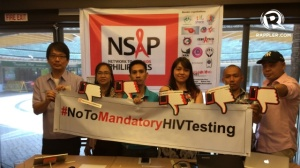Filipino activists protesting mandatory HIV testing (Photo: Rappler.com)