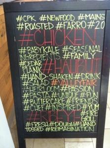 A restaurant menu board: hashtag overkill