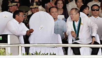 Vice President Binay, left and President Aquino, right. Empty chair at center was meant for Nora Aunor.