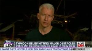 Cooper reporting on typhoon Haiyan (Yolanda) - file photo