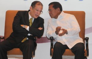 Aquino, left, with Vice President Binay