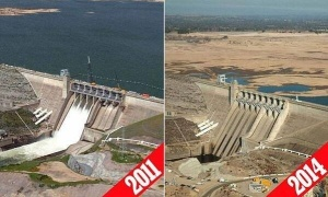 The Folsom Lake Reservoir in 2011, left, and in 2014