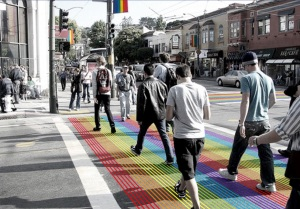 Artist's rendition of the Castro Street rainbow crosswalk