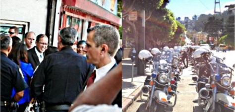Aquino at the Haight, left, with his entourage of SFPD motorcycle cops