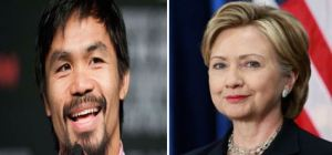 Pacquiao, left, and Clinton