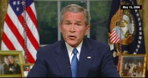 File photo: Bush speaking from the Oval Office on May 15, 2006
