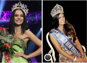 Miss Philippines, left, and Miss New Zealand, Filipinas both.