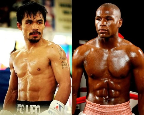 Pacquiao, left, and Mayweather