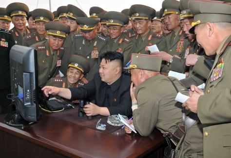 Kim Jong-un and his military advisers