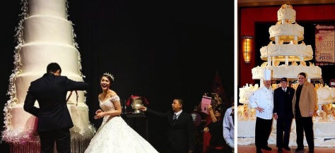 The Dantes-Rivera wedding cake, left, and the Guinness World Record title holder, right