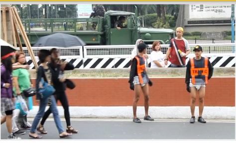 Adult Diaper-clad traffic enforcers in Manila (Photo credit: When In Manila)