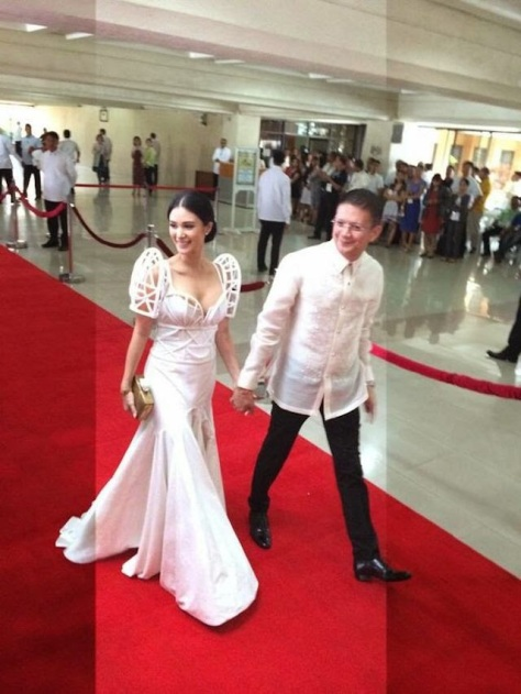 Philippines Senator Escudero and future bride Heart Evangelista, during red carpet ceremonies at the last State of the Nation Address by President Aquino