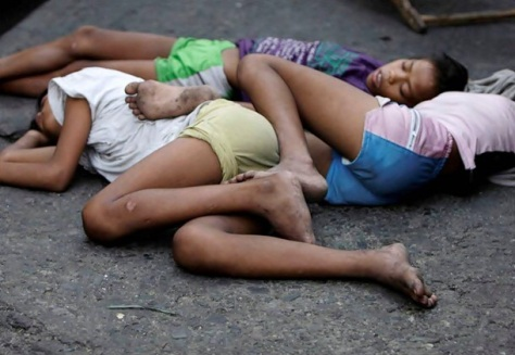 Homeless street children in Manila