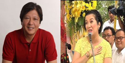 Red vs. Yellow: Bongbong Marcos, left, and Kris Aquino