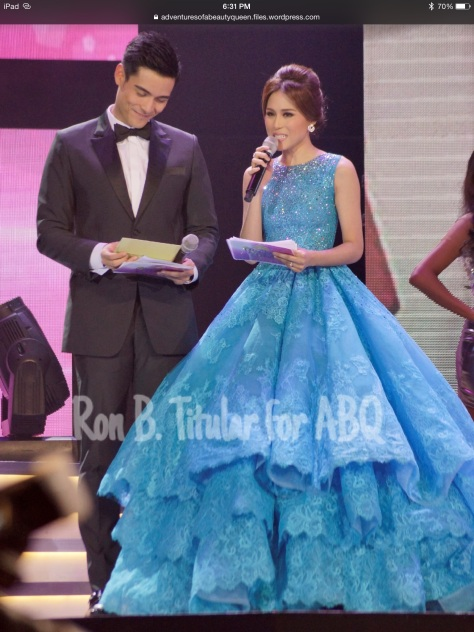Pageant co-host Toni Gonzaga, right, and her enormous evening gown. (Photo credit: Rob Titular for ABQ)
