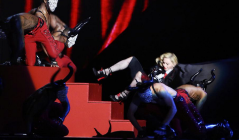 Madonna takes a spill at the last BRIT Awards (screen shot)