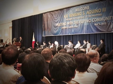 Aquino speaking at gathering in Chicago on May 6, 2015 (Photo credit: Rose Tibayan)