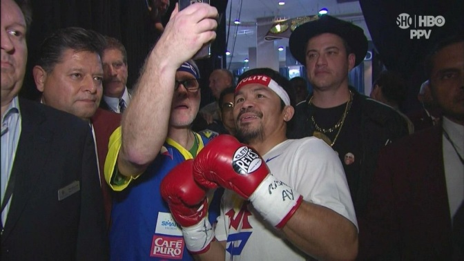 Selfie before the 'Fight of the Century' with Manny Pacquiao, his coach Freddie Roach, and late night talk show host Jimmy Kimmel