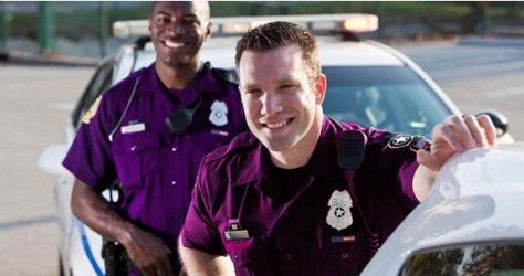 Police uniform: two shades of purple (Photo source: callthecops.net)