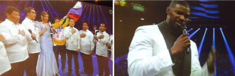 The national anthems of the Philippines (left) and the United States (right) sang at at the MGM Grand Saturday night.