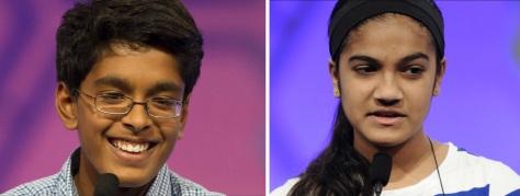 2015 National Spelling Bee champs Venkatachalam, left and Shivashankar