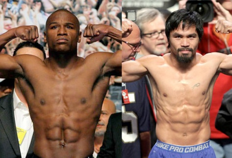 Mayweather, left, and Pacquiao (Photo credit: philstar.com)