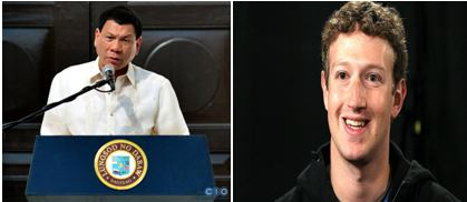 Duterte, left, and Zuckerberg