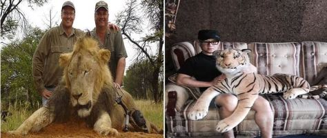 Left: Palmer with unidentified fellow hunter pose with a lion (not Cecil) they killed; Right: Unidentified Filipino with his pet tiger named Cisco