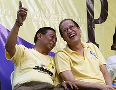 Binay, left. and Aquino, in a rare display of unity and solidarity