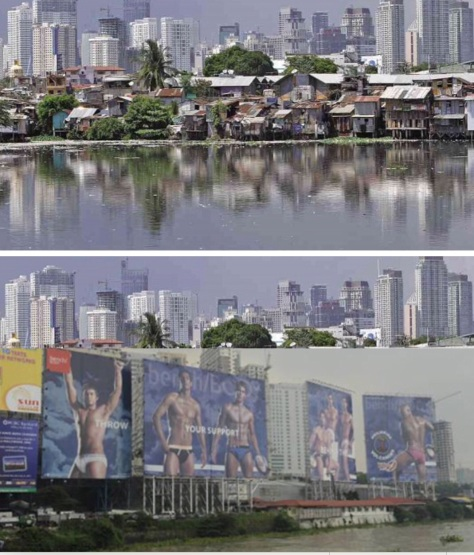 The Makati skyline as it now, top, and when Binay becomes president, bottom