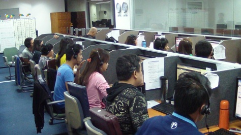 Workers at a call center in the Philippines