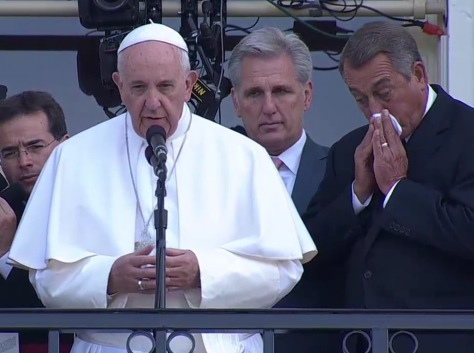 Pope Francis, left, and a tearful Boehner