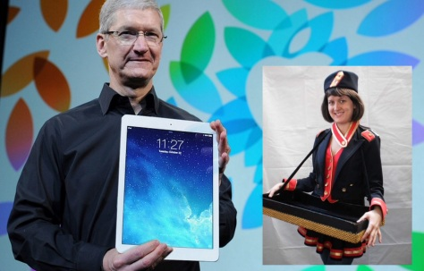 Tim Cook presents a preview of the new iPad Pro which will come with a free carrying case