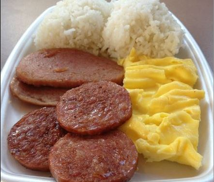 The McDonald's Spam, Portuguese Sausage, egg and rice breakfast platter