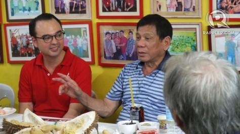 Cayetano, left, and Duterte
