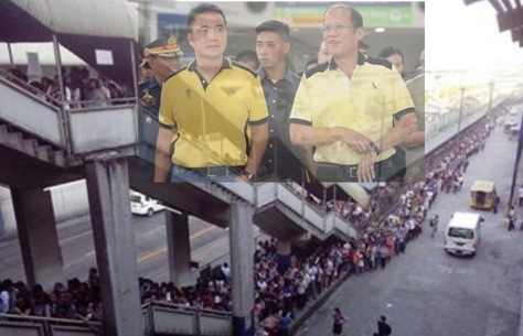 Abaya, left, and Aquino; long lines at MRT