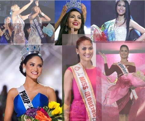 Top left, clockwise: Miss Scuba International, Miss International Queen, Miss Earth, Miss Tourism International, Miss Globe, Miss Universe