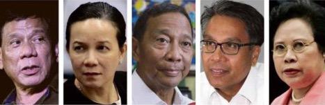 L-R: Duterte, Poe, Binay, Roxas, Santiago