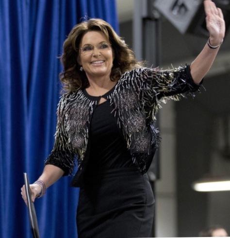 Palin at a Trump rally in Iowa