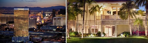 The Trump hotels in Las Vegas, left, and Doral
