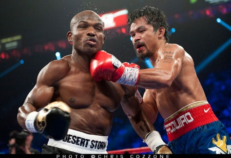 June 9, 2012: Reigning WBO welterweight champion Manny Pacquiao (54-2-2, 38 KOs) lost a very controversial twelve round split decision against unbeaten WBO jr welterweight champion Timothy Bradley (29-0, 12 KOs) on Saturday night at the MGM Grand Garden Arena in Las Vegas.