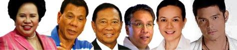 L-R: Santiago, Duterte, Binay, Roxas, Poe, Dantes