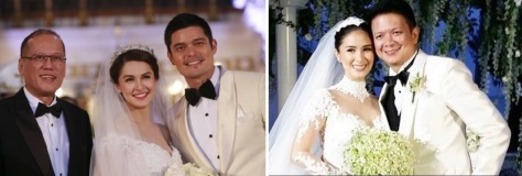 L-R: Best Man Aquino; Marian & Dingdong; Heart & Chiz